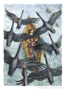 Dark wings downstream
